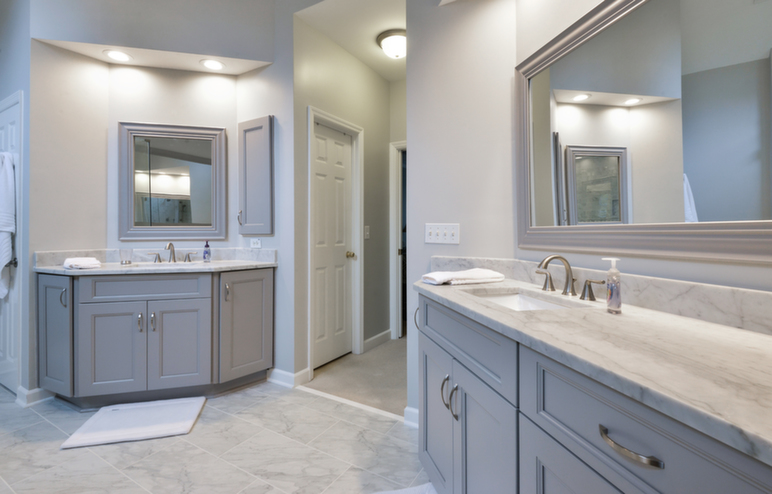 Gray Tone Shades in Bathroom
